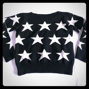 Sweaters - Funky Black / White Crop Stars Thick Sweater